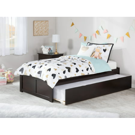 Alex Trundle Twin Bed - Concord Twin Platform Bed with Flat Panel Foot Board and Twin Size Urban Trundle Bed in Espresso