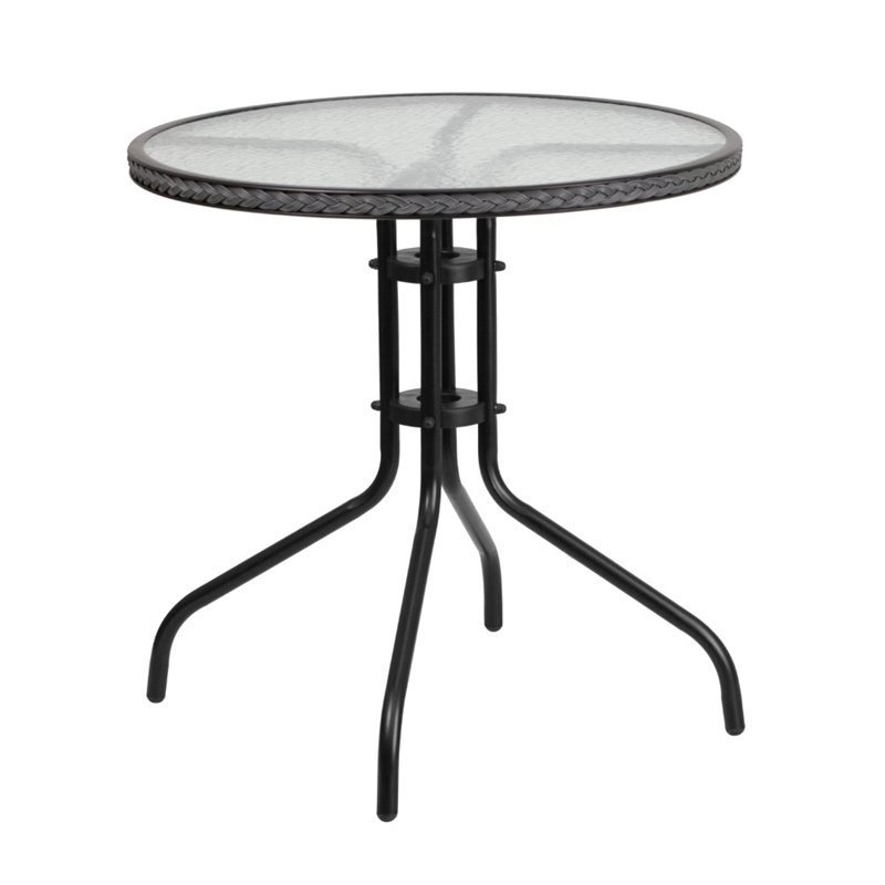 Bowery Hill 29 Round Glass Top Patio, Round Metal Outdoor Coffee Table Canada