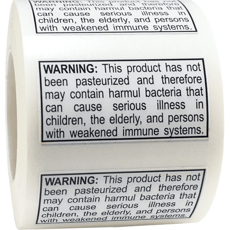 Not Pasteurized Warning Labels .75 x 1.5 Inch 500 Adhesive Stickers
