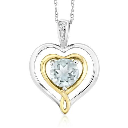 - 10K Two-Tone Gold Diamond Accent Double Heart Shape Pendant Aquamarine 0.40 Ct