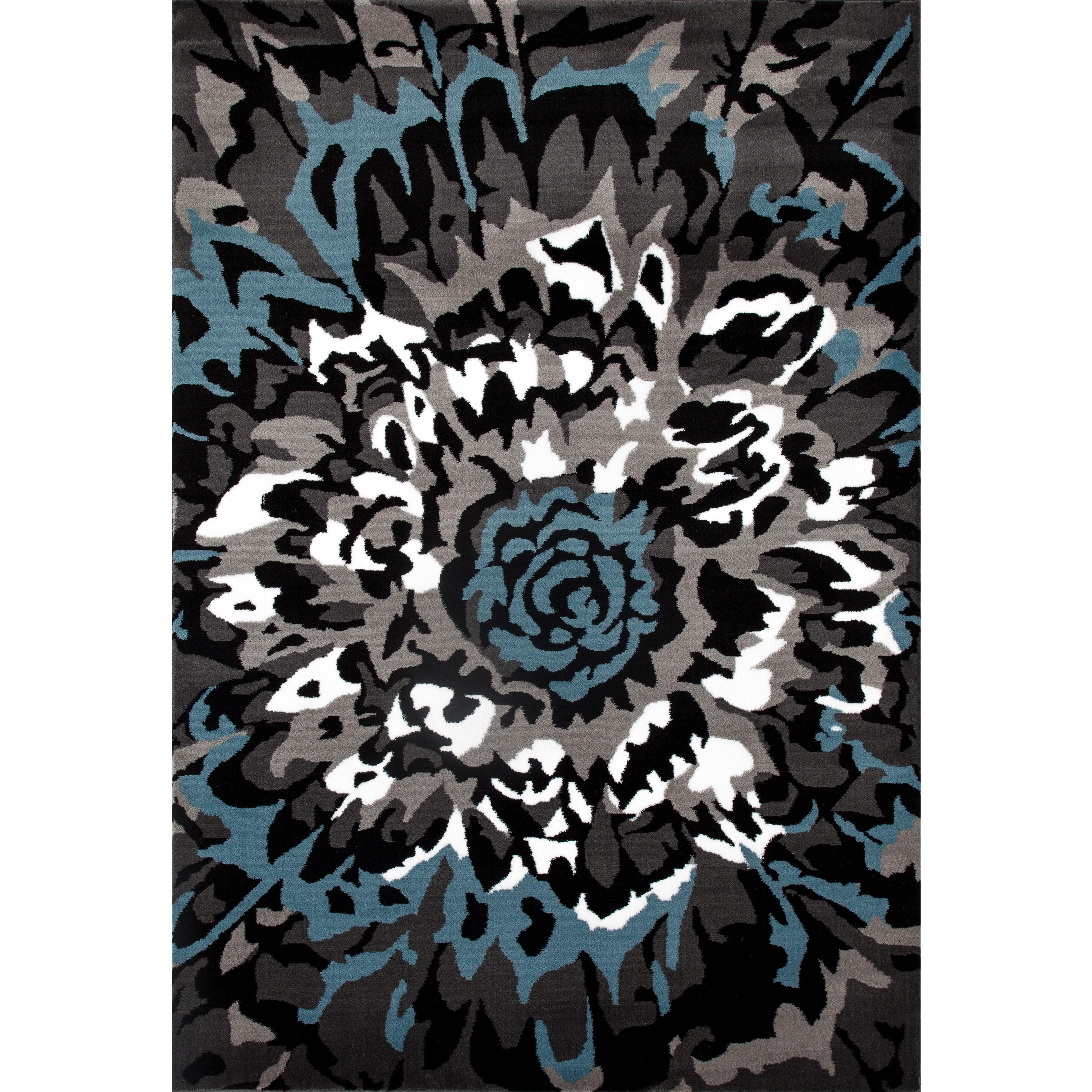 Modern Large Floral Pattern Blue/Grey Polypropylene Area Rug or Runner