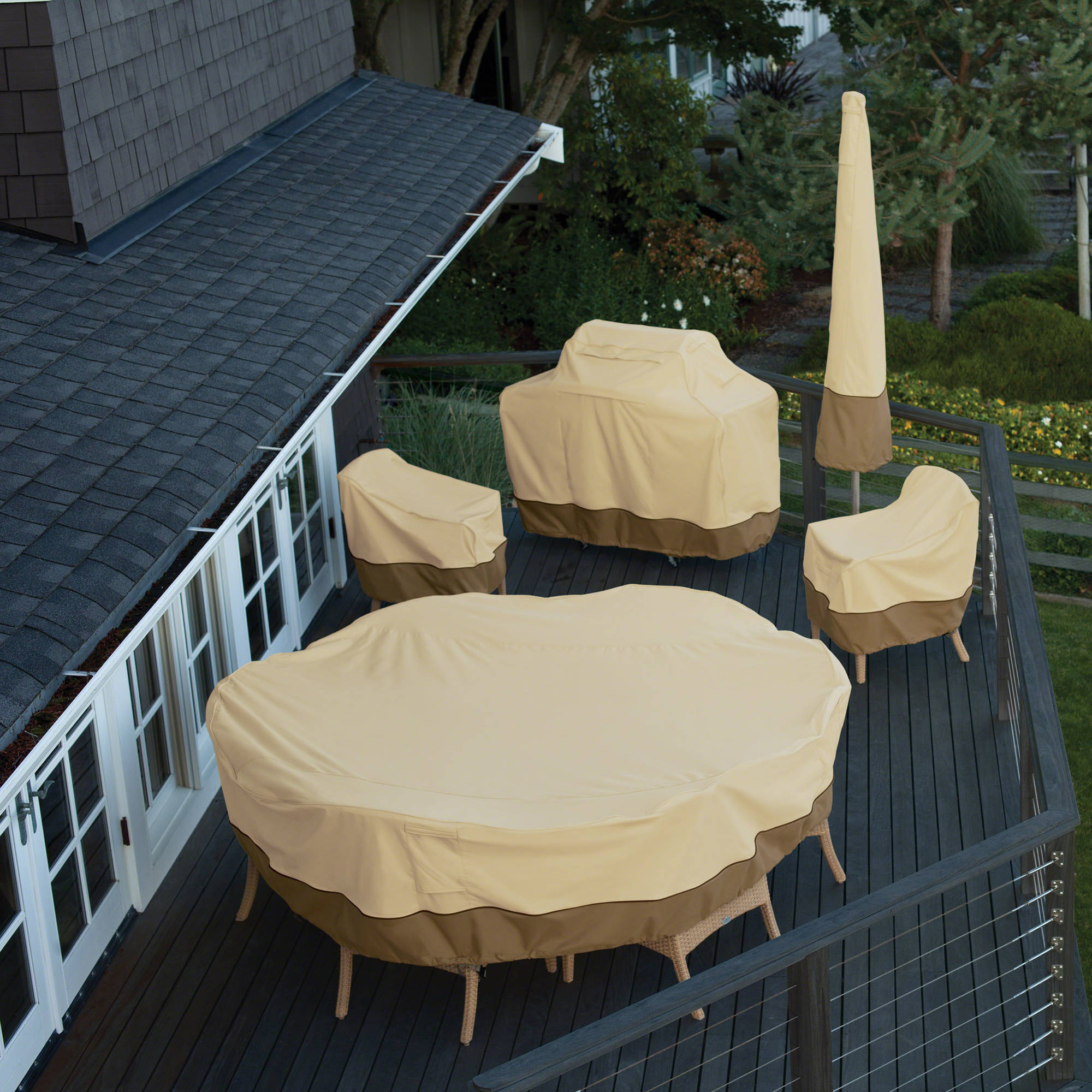 Classic Accessories Veranda Round Patio Table Chair Set Cover