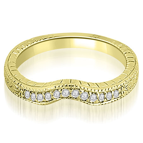 0.15 CT.TW Antique Cathedral Round Cut Curve Diamond Wedding Band in 14K White, Yellow Or Rose Gold