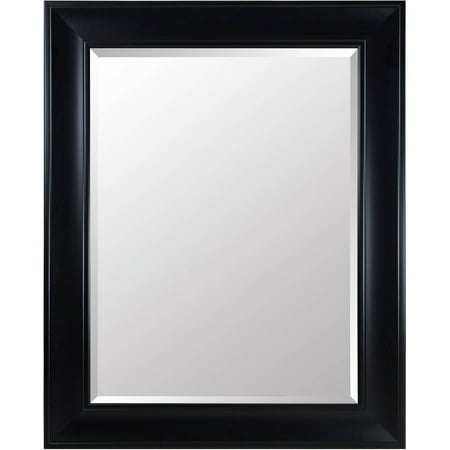 Beveled Wall Mirror with Black Satin Frame 39