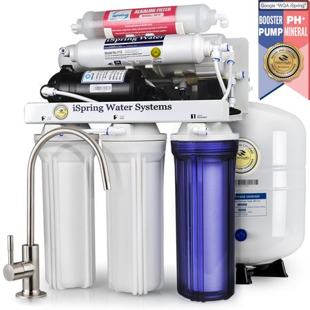 Undersink Reverse Osmosis - iSpring Reverse Osmosis Water Filter System w/ Booster Pump and Alkalina Mineral Stage - 75GPD WQA Gold Seal Certified 6-stage RCC7P-AK