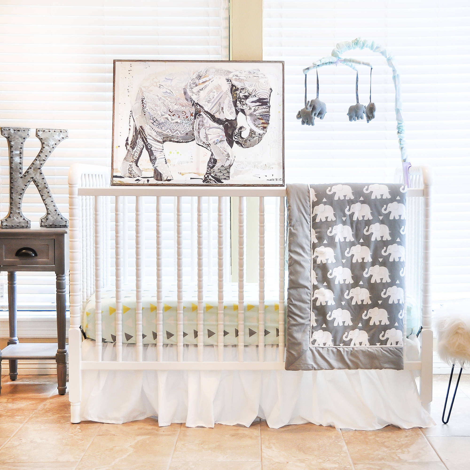 Pam Grace Creations Indie Elephant 6 Piece Crib Bedding Set