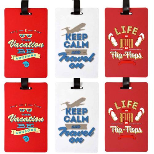 Bundle Monster 6pc Silicone Mixed Vacation Theme Design Luggage Bag Tags - Set 1