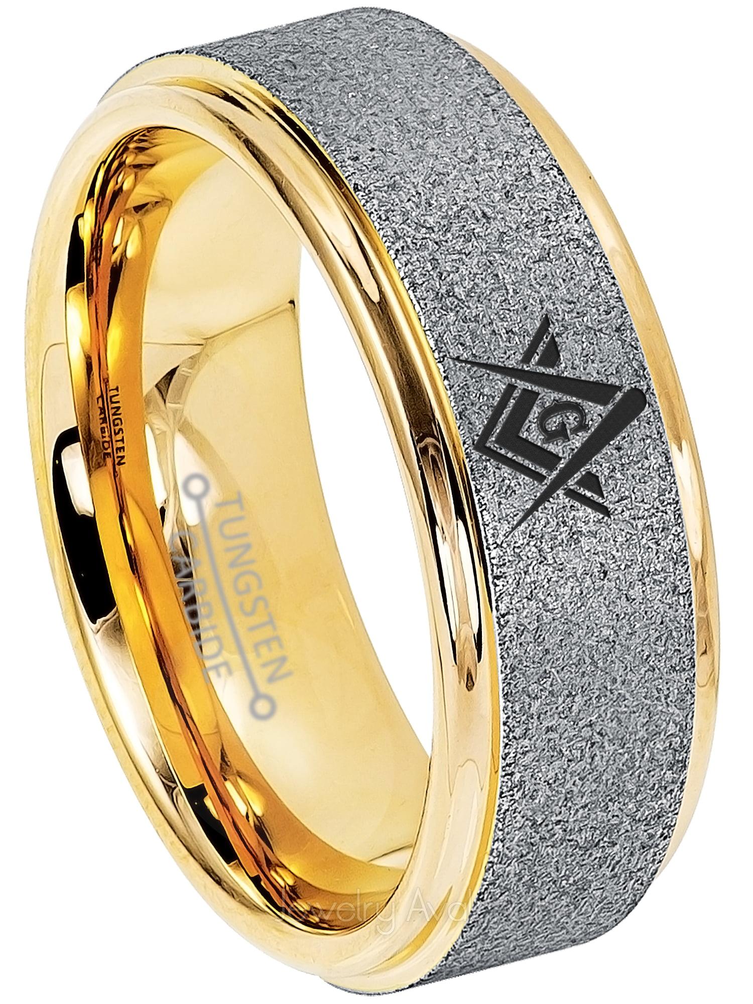 Details about  /Masonic Ring 2-Tone Blue Tungsten Carbide Ring Freemason Tungsten Wedding Band