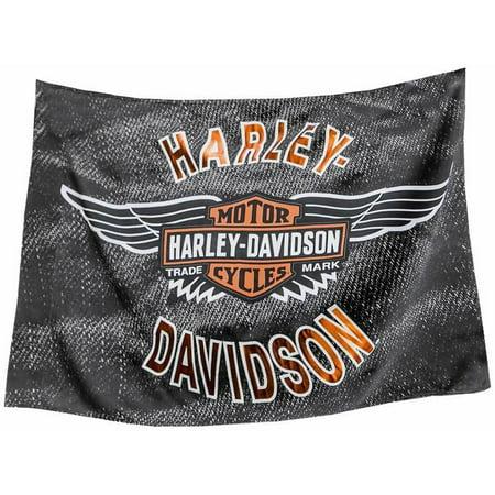 """Harley Davidson Estate Flag Vinatge B&S Wings Souble Sided Suede 52"""" x 36"""""""