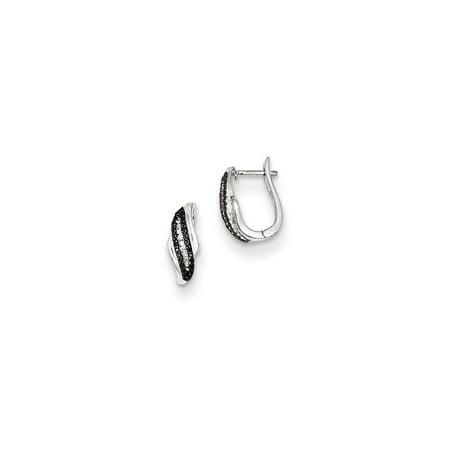bb5d300dc889c7 Black Bow Jewelry Company - Black & White Diamond Swirl Sterling Silver  Hinged Hoop Earrings 14mm - Walmart.com