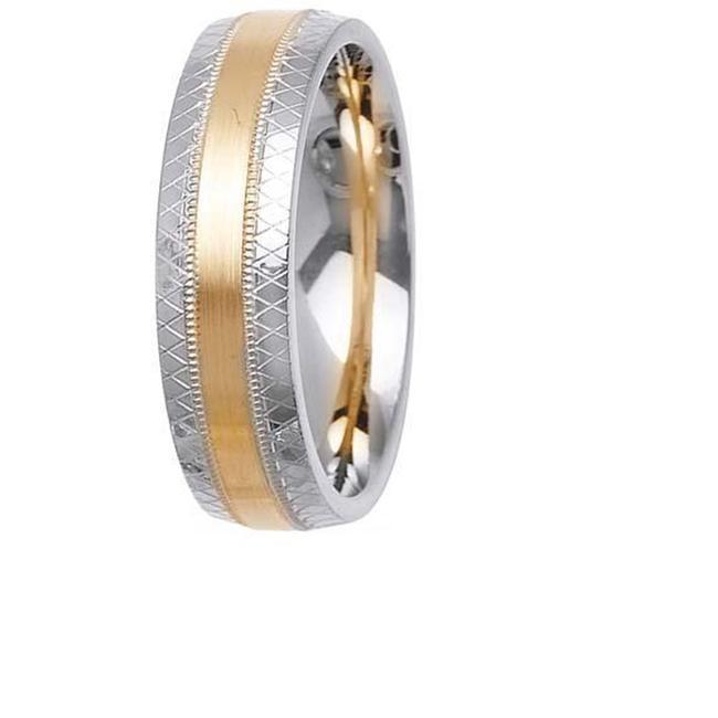 L. A.  Wedding 14KLAW1130-S6. 5 6mm 14K Two Tone Wedding Ring - Size 6. 5