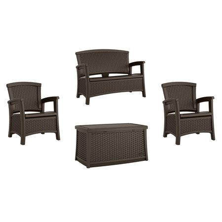 Suncast Elements Wicker Design Loveseat + Resin Club Chairs + Coffee Table, - Love Table