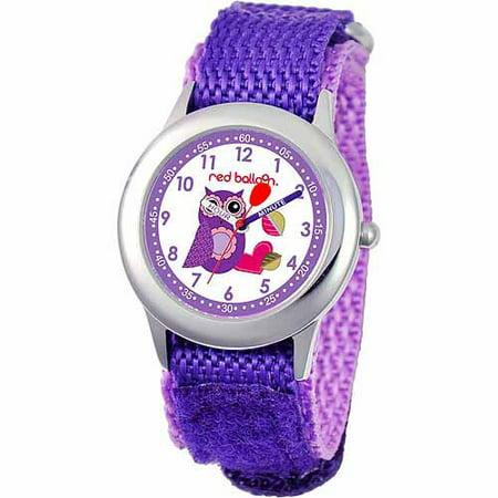 Red Balloon Love Owl Kid's Girls' Stainless Steel Watch, Purple Strap