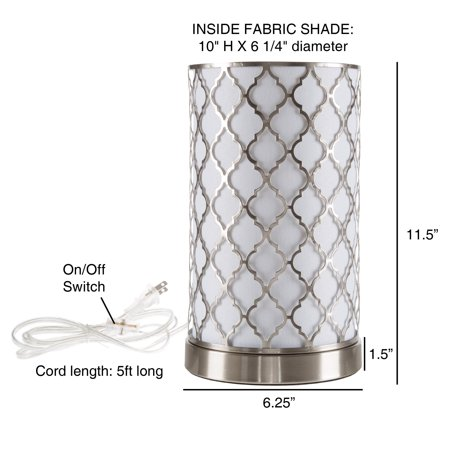 LED Uplight Table Lamp with Steel Finish, Fabric Overwrap, Laser Cut Quatrefoil Pattern and Included LED Light Bulb for Home Uplighting by Lavish Home ()