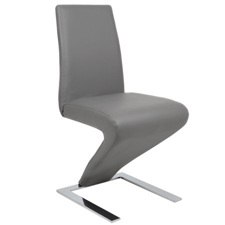 Costway high back pu leather dining chair z shaped zigzag for Z shaped dining chair