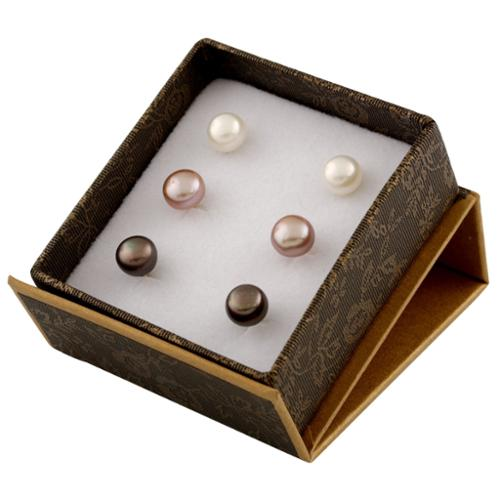 Gilo Creations 14k Yellow Gold White and Pink Freshwater Pearl Stud Earrings (7-8mm)