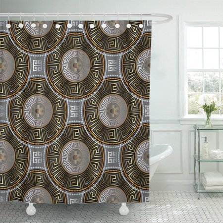 PKNMT Modern Geometric Greek Key Abstract Grey Gold Silver Black Polyester Shower Curtain 60x72 inches