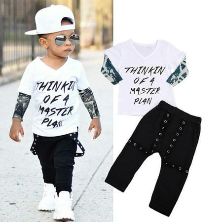 2Pcs Newborn Infant Baby Boys Gentleman Clothes Shirt Tops Bib Pants Outfits Set - Infant Boy Outfit