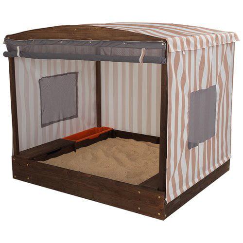 KidKraft Cabana Rectangular Sandbox with Cover Beige and White Stripes by KidKraft