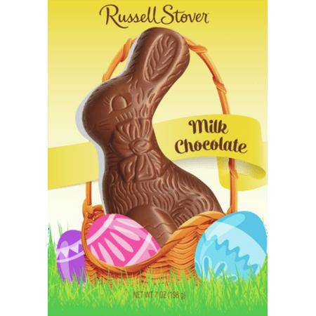 Russell Stover Milk Chocolate Flat Back Bunny, 7 Oz. Chocolate Bunny Rabbit
