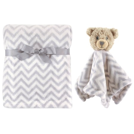 Plush Blanket and Animal Security Blanket Set, Gray Bear By Hudson Baby Bunny Rabbit Security Blanket