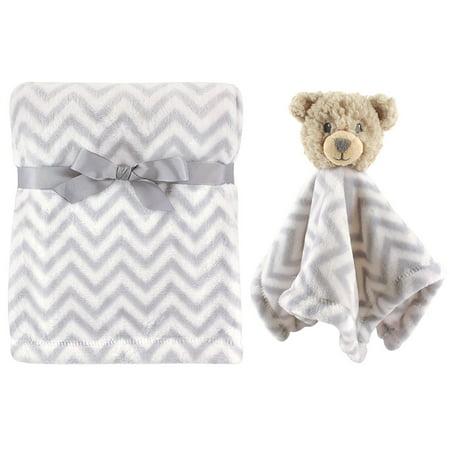 Snuggle Bear Blanket - Plush Blanket and Animal Security Blanket Set, Gray Bear By Hudson Baby