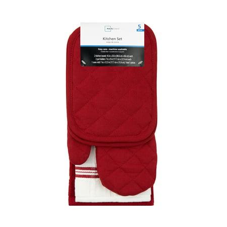 Mainstays Kitchen Towel, Oven Mitt & Pot Holder Kitchen Set, 5 Pack, Red