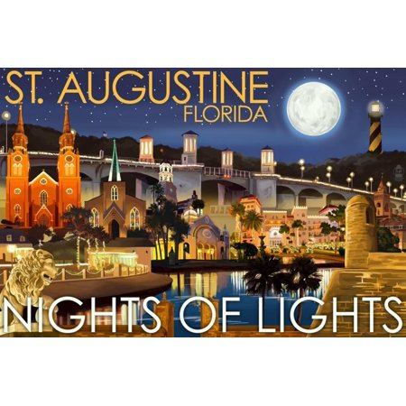 St. Augustine, Florida - Nights of Lights - Night Scene Print Wall Art By Lantern Press