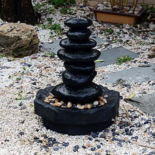 "Outsunny 28"" Stacked Stone Indoor/Outdoor Waterfall Fountain with LED Lights"