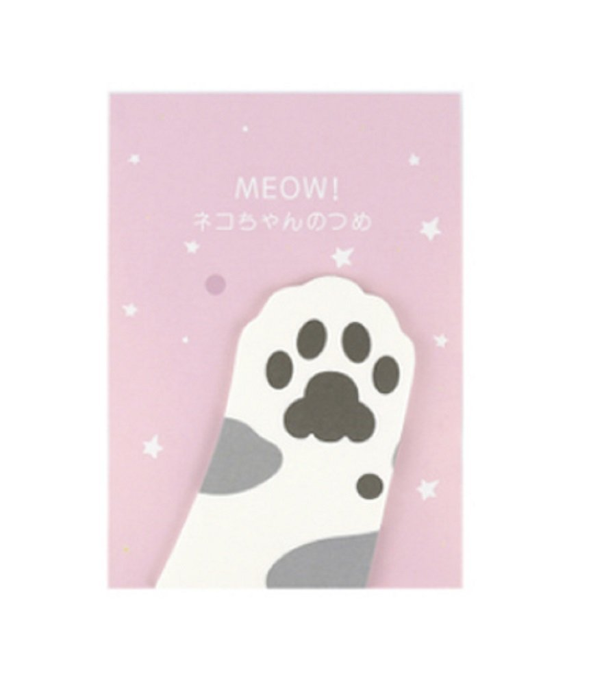Cat Paw Sticky Note Bookmarks   Tape Flags (White with Gray Spots) by