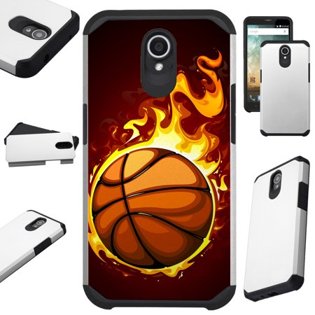 For Alcatel idealXTRA   1X Evolve (2018)   TCL LX Phone Case Hybrid Fusion Cover (Flaming Basketball)