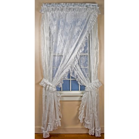 - Beverly Lace Ruffled Priscilla Curtain Panel - Set of 2