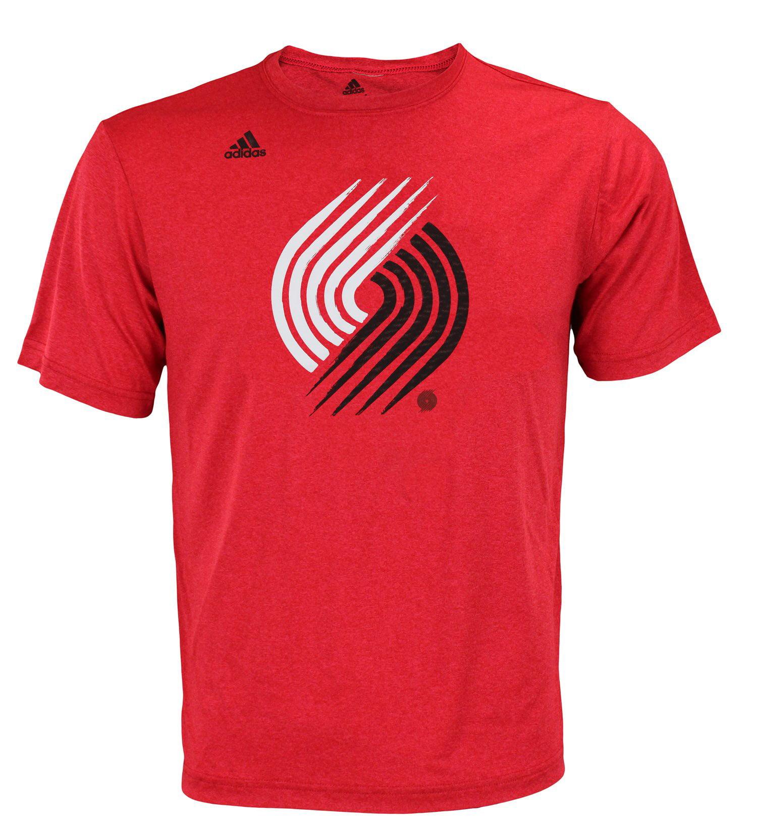 Adidas NBA Men's Portland Trail Blazers Ultra Lightweight Athletic Rush Graphic Tee, Red