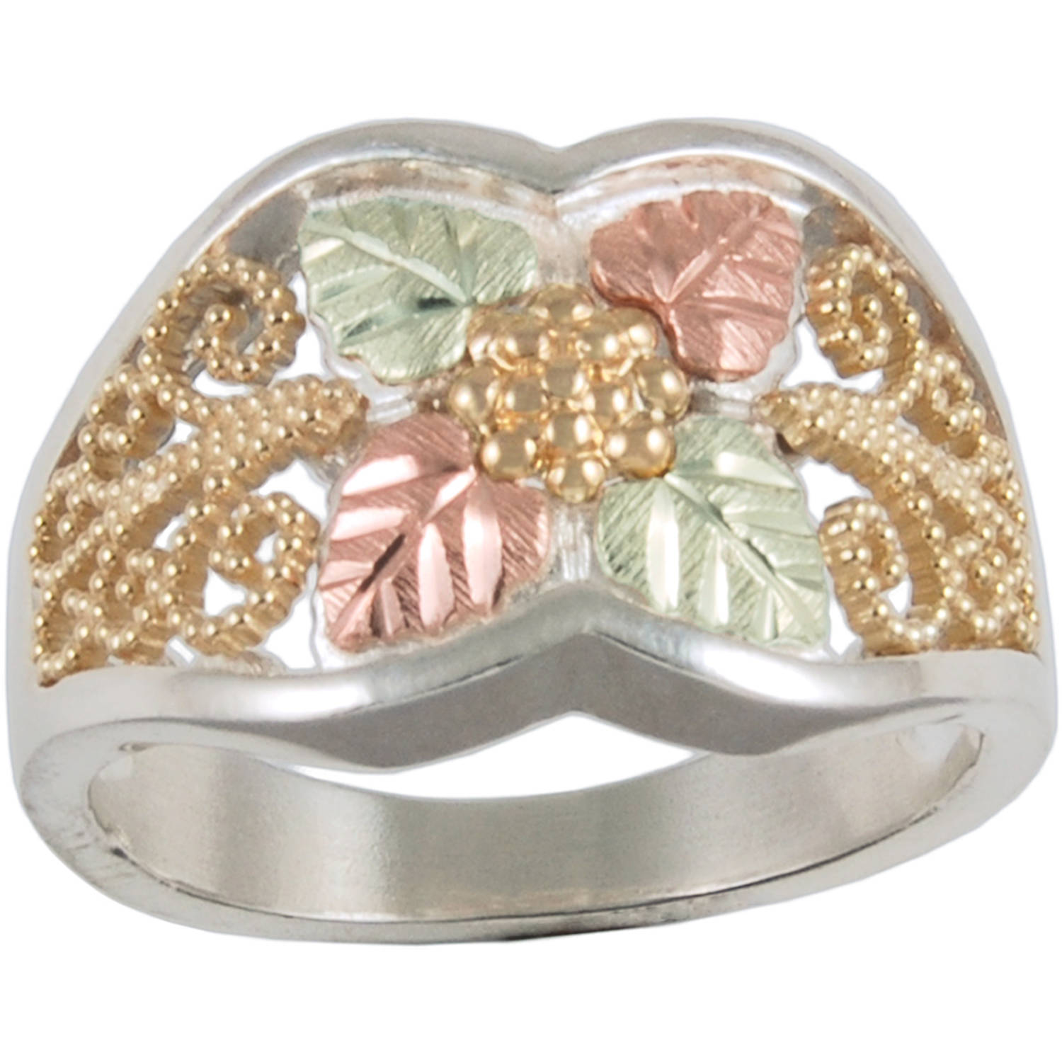 Black Hills Gold Women's Sterling Silver 10kt and 12kt Gold Accented Filigree Ring