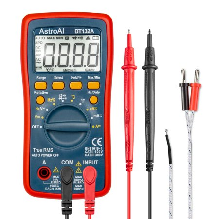 AstroAI Digital Multimeter, TRMS 4000 Counts Volt Meter Manual and Auto Ranging; Measures Voltage Tester, Current, Resistance, Continuity, Frequency; Tests Diodes, Transistors, Temperature, Red (Transistor Testing)