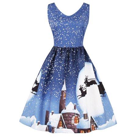 Fancyleo Christmas Moon Print Sleeveless Plus Size Dress