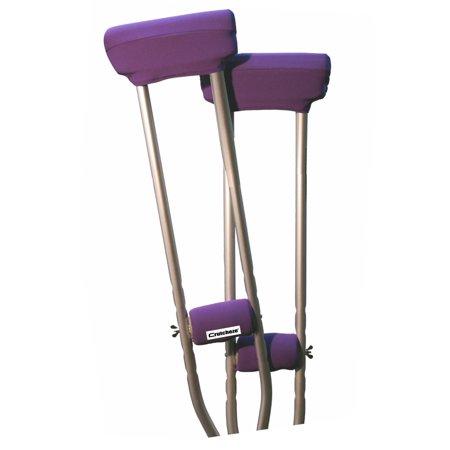 (Crutcheze Purple Crutch Pad Set - Underarm & Hand Grip Covers with Comfortable Padding - Crutch Accessories Made In USA (2 Armpit, 2 Hand Cushion) - Crutch Pillows)