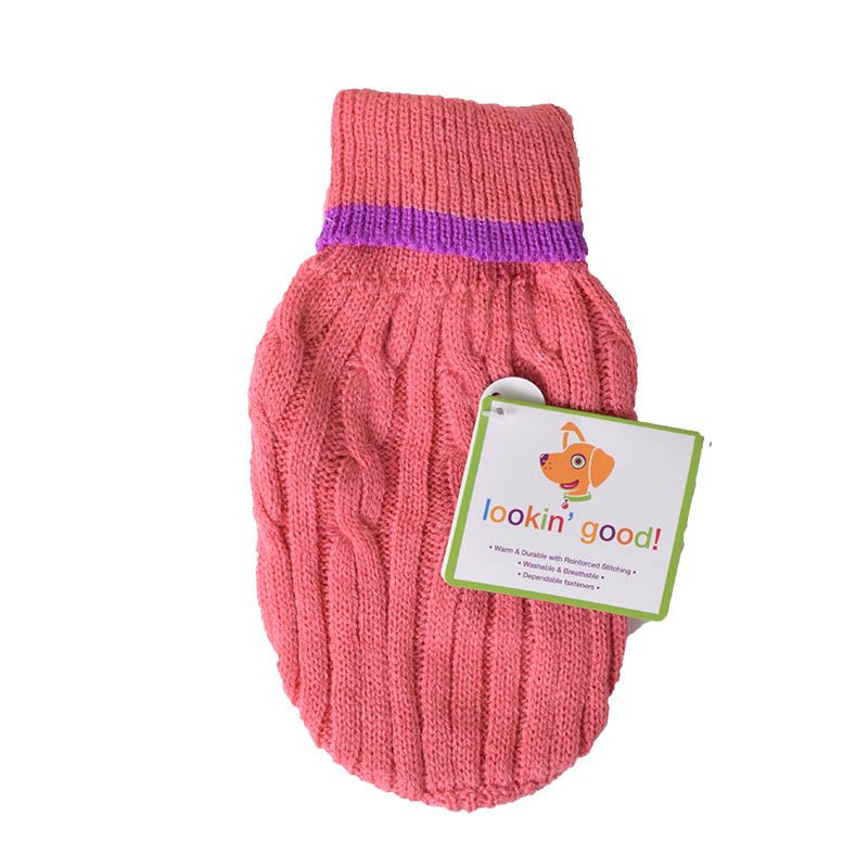 "Fashion Pet Cable Knit Dog Sweater - Pink XX-Small (6""-8"" From Neck Base to Tail) - Pack of 2"