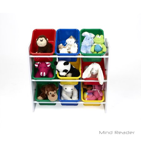 Mind Reader Toy Storage Organizer With 9 Bins Kids For Bedroom White
