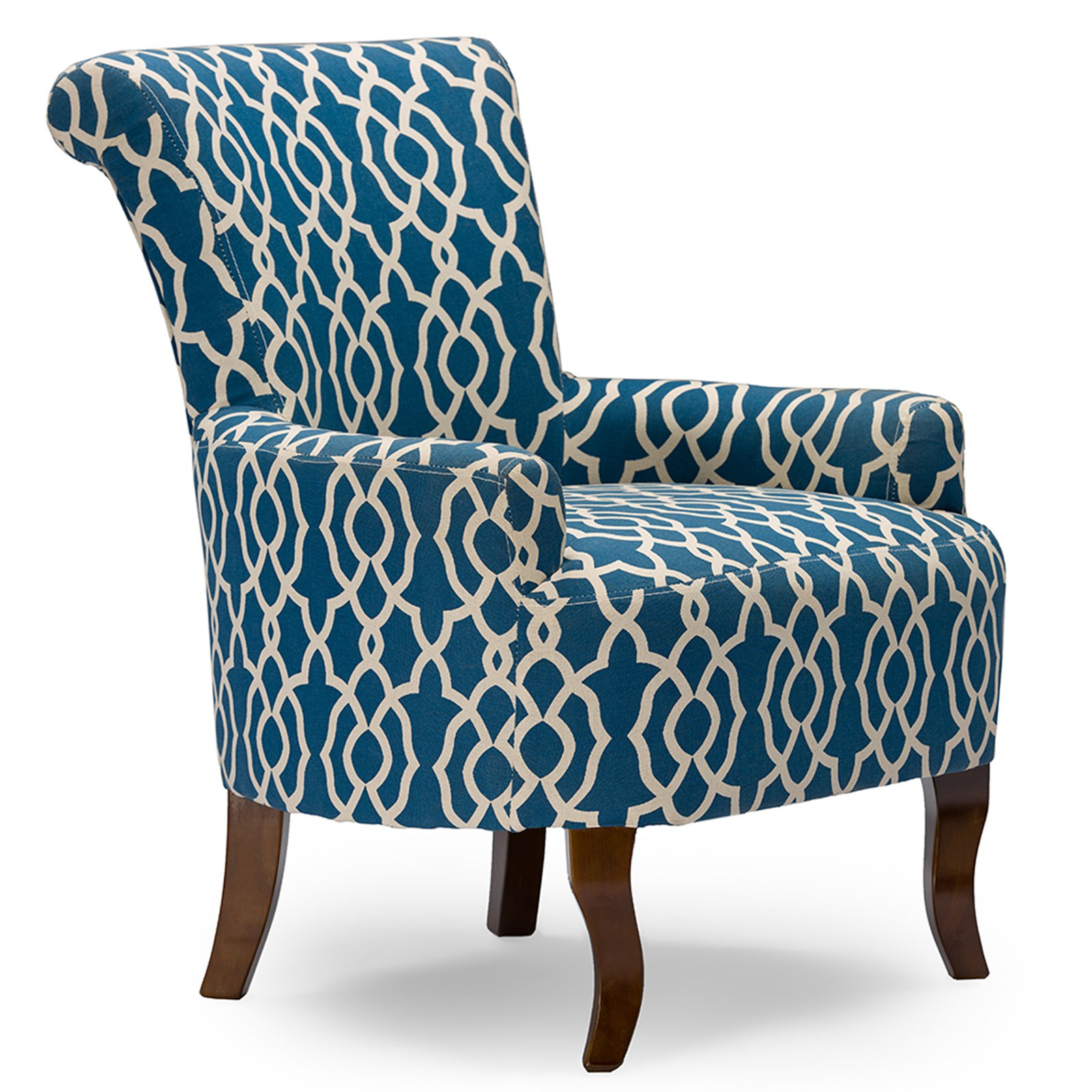Baxton Studio Dixie Contemporary Fabric Armchair, Navy Blue Patterned Fabric by Wholesale Interiors