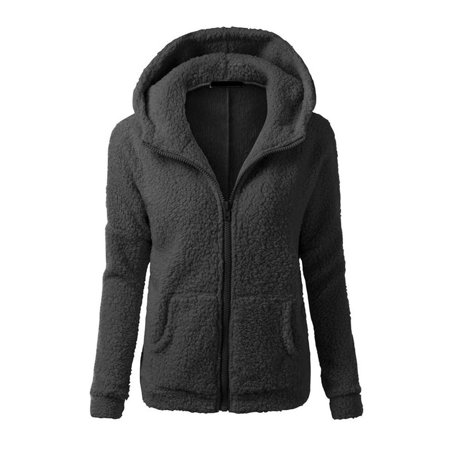 Winsellers Women Thicken Fleece Coat Zip Hooded Slim Overcoat Woman Warm Hoodies Autumn Winter
