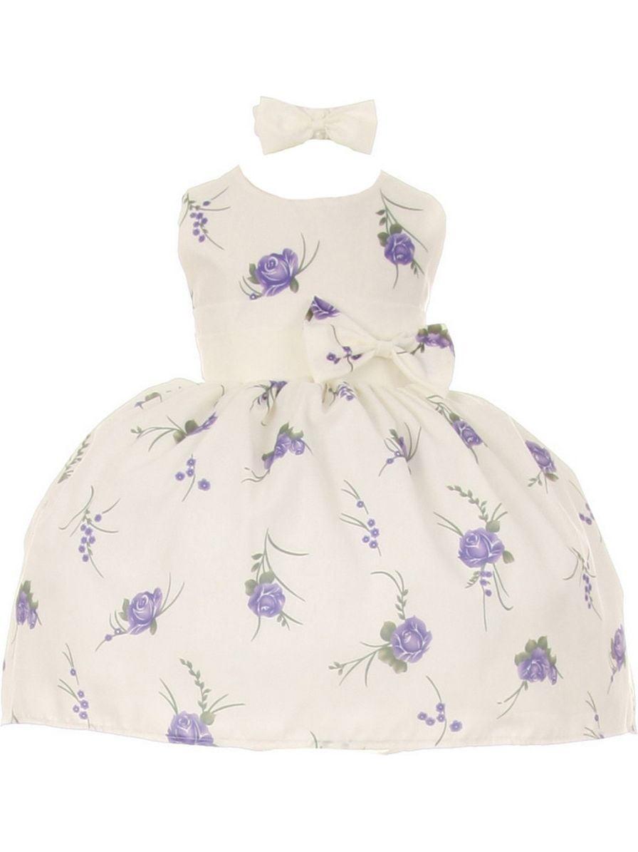 Little Girls Purple Floral Print Headband Special Occasion Dress 4T