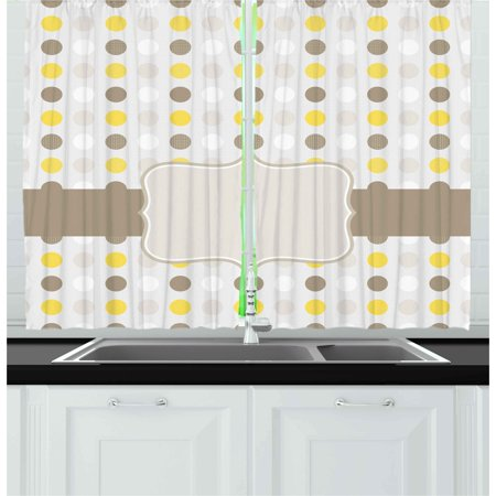 Grey and yellow curtains 2 panels set abstract 60s 50s - Grey and yellow living room curtains ...