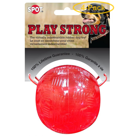 Spot Play Strong Rubber Ball Dog Toy - Red 3.75 Diameter - Pack of