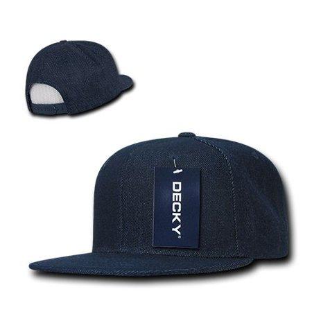 Denim Ball Cap - Dark Blue 6 Panel Flat Bill Flat Bill Denim Snapback Baseball Ball Cap Hat