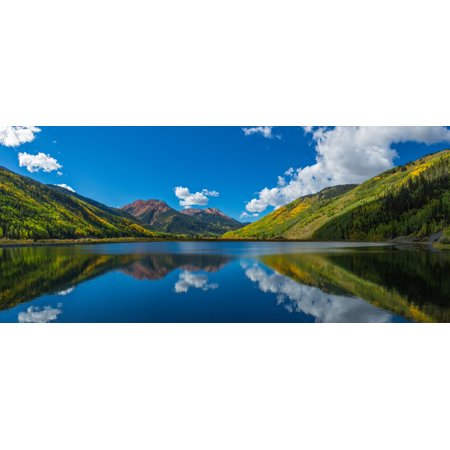 Reflection of clouds and mountain in Crystal Lakes US Route 550 Colorado USA Poster Print by Panoramic - Express Crystal Lake