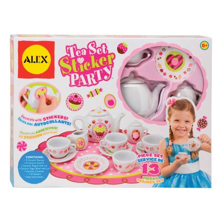 ALEX Toys Craft 13 Piece Tea Set Party with Over 100 Stickers (Girls Tea Party)