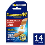 Compound W Maximum Strength One Step Wart Remover Pads, 14 Count