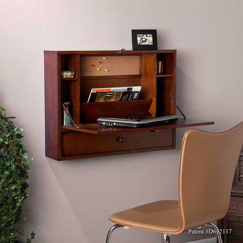 Wall-Mount Laptop desk, Brown Mahogany
