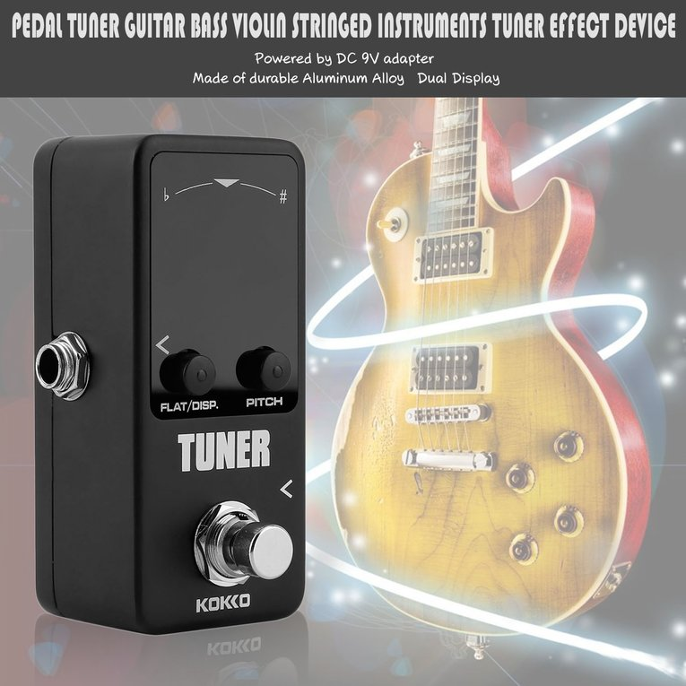 Pedal Tuner Guitar Bass Violin Stringed Instruments Tuner Effect Device by